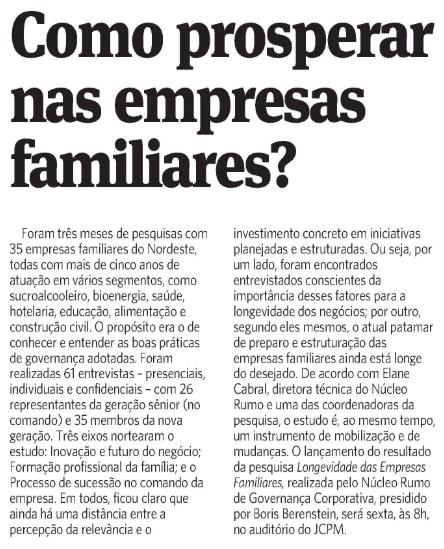 Como prosperar nas Empresas familiares? (Jornal do Commércio | Social 1)