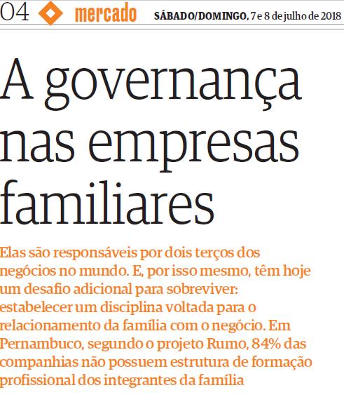 A governança nas empresas familiares (Folha de PE | Mercado)