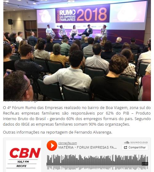 Empresas familiares é tema de fórum no Recife (CBN)
