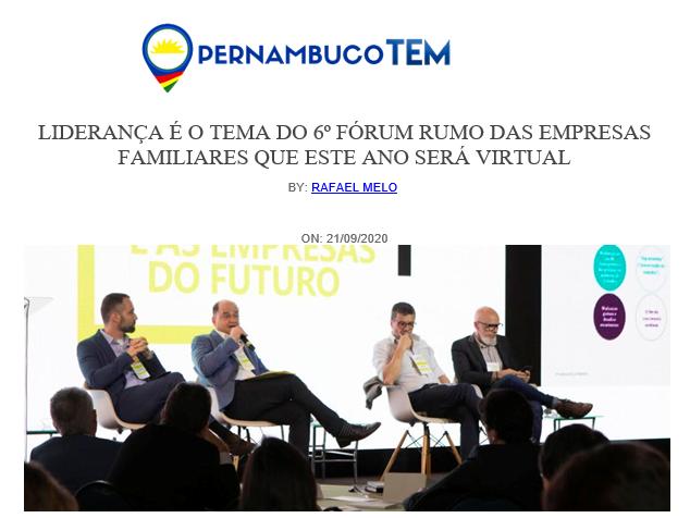 Liderança é o tema virtual do 6º Fórum Rumo das Empresas Familiares (Pernambuco Tem)